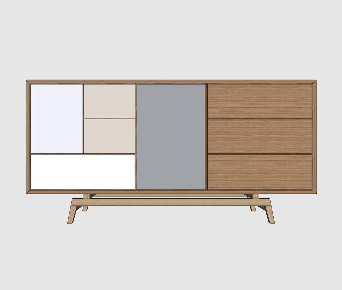 Mid century modern sideboard sketchup hub