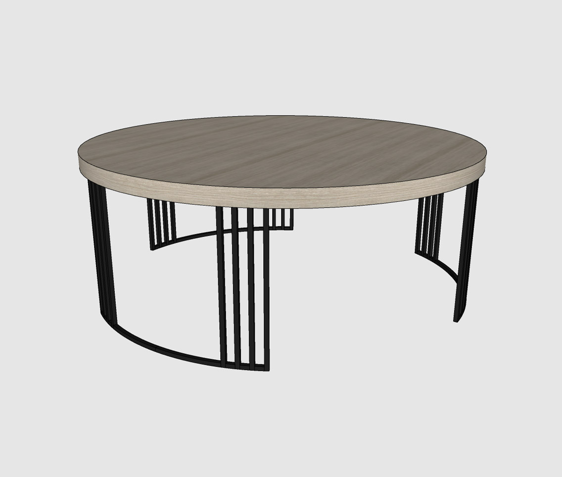 Picture of: Round Coffee Table With Iron Legs Sketchup Hub