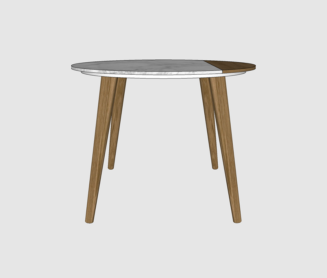 Marble & Oak Round Side Table
